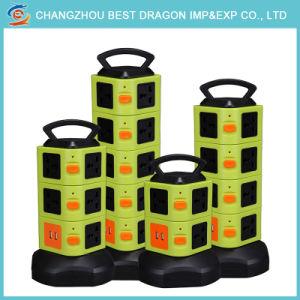 Fünf-Schicht Vertikale mit Aufnahme-Spulen-mehrfacher Kontaktbuchse mit mit 2PCS 2.1A USB-Kanal
