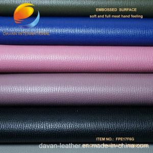 Linda la ropa de moda de PU cuero sintético para zapatos con superficie grabada de la enseñanza primaria gratuita17m6g