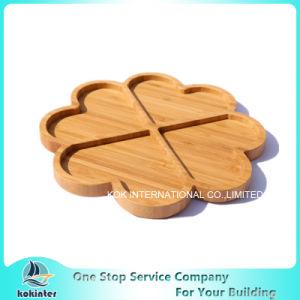 4 Divid servant de bambou bambou bac plat de service de la plaque de bambou