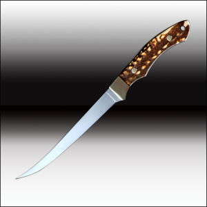 Cuchillo de cocina pescado escala ciervo artificial la cuchilla con funda de cuero