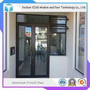 Portello di vetro Basso-e di alluminio di Secuirty della porta a battenti della venatura del legno per il balcone ed il giardino