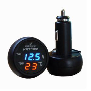 3in1 voltmetro di Digitahi LED del caricatore del USB 2.1A del termometro dell'automobile 12V
