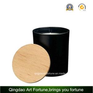 Duft roch schwarze Farbe gesprühte Glasglas-Kerze mit hölzerner Kappe
