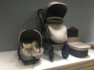 Cochecito de bebé N159-E 3 en 1 con chasis de aleación de aluminio gris de fábrica China