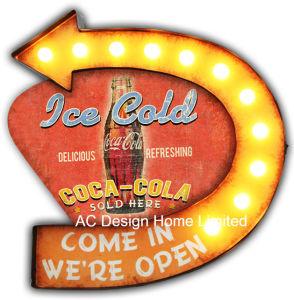 Decoración Vintage antiguo Bienvenidos a cerveza helada en la parte superior de diseño Decoración de pared de metal con luz LED