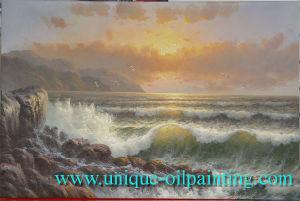 Olieverfschilderij, het Olieverfschilderij van de Branding, het Olieverfschilderij van het Zeegezicht