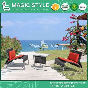 Кресло из нержавеющей стали для отдыха обставлены плетеной стул Viro плетеной открытый таблица современной мебелью
