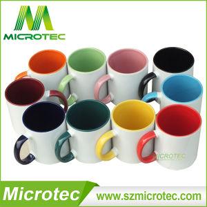 11oz de sublimatie Binnen & de Kleur van het Handvat bedekten de Ceramische Mok van de Koffie met een laag (MT-B002H)