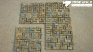 Het roestige Grijze Mozaïek van de Lei voor de Decoratie van de Muur (mm052)