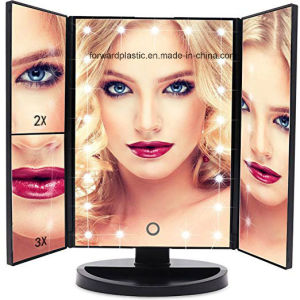 BSCI, Wca, Sqp, fabbrica di Wal-Mart ha certificato gli indicatori luminosi illuminati ripiegabili dello specchio 21 LED di trucco di vanità, specchio di ingrandimento dello schermo di tocco 3X/2X/1X