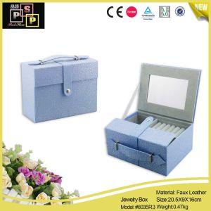Mode poignée bleue délicat Coffret à bijoux Kit de mise en miroir de maquillage (8035)
