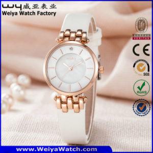 Correa de cuero Casual moda señoras reloj de pulsera de cuarzo (Wy-121D)