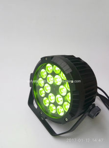 Piscina 18*18W Rgbwauv 6 en 1 LED plana PAR