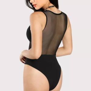 메시 삽입 훅과 눈 보디스 Bodysuit