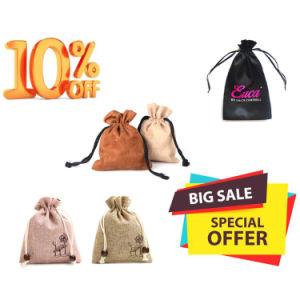 Mini reutilizable de diferentes tamaños de yute bolsas de joyas de lujo con cordón ajustable