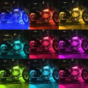 L'atmosfera al neon di effetto al suolo del kit del motociclo LED delle strisce di incandescenza multicolore chiara di accento illumina la lampada
