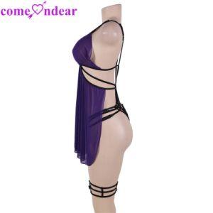 Meilleure vente violet Plus Size Nuisette femmes mûres de Lingerie vêtements de nuit