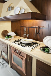 Kast van de Keuken van de Kleur van de Stijl van het land de Donkere Houten Stevige Houten