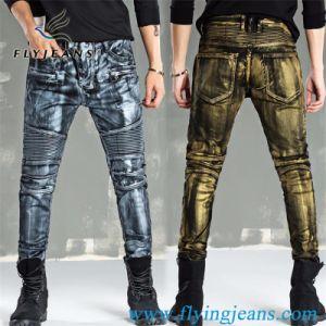 L'oro di modo/rivestimento d'argento ha lavato la locomotiva/motociclista/i jeans uomini di Moto restretti denim (P.E. 3009)