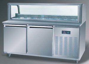 元気づける304ステンレス鋼およびガラス商業レストランサンドイッチ冷却装置円形アークサンドイッチ準備表か冷やされていたサンドイッチベンチ