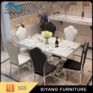 Mesa de comedor Muebles de mármol de juego de mesa de comedor Mesa de acero