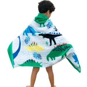 Commerce de gros Custom Kids Cartoon Terry Serviette de plage de surf à capuchon Hoodie Cloak Serviette de plage peignoir Serviette de bain d'enrubannage