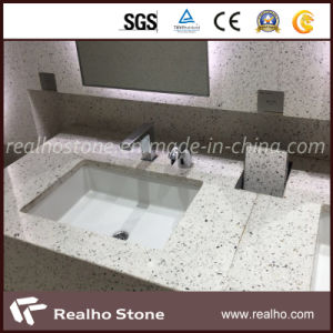 Terrazzo blanche bon marché lavabo avec meuble-lavabo Tops
