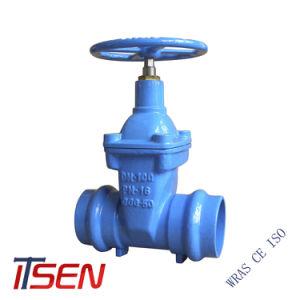 DIN3325 rueda de mano de hierro dúctil toma doble extremo ranurado Válvula de compuerta utilizado para tubos de PVC
