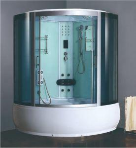 Bañera de hidromasaje de gran tamaño de cristal templado de color azul de cabina de ducha de vapor Sauna