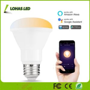 Br20 8W APP de luz controlada E26 Smart WiFi com lâmpada branca regulável (2000K-6500K)