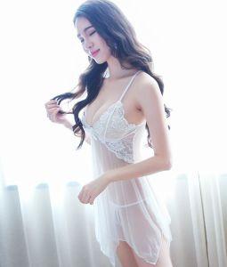 Lencería transparente con encaje Sexy revestido de dama