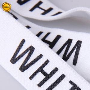 Aangepaste Zwarte Katoenen van het Embleem van de Folie Witte Elastische Band voor Kledingstuk