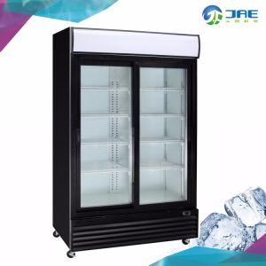 En posición vertical exhibiciones comerciales Enfriador de bebidas de 2 puertas