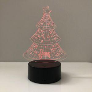 3D de la luz de la noche el patrón de árbol de Navidad ilusión LÁMPARA DE LED multicolor de las luces de iluminación de lámparas de decoración de regalos