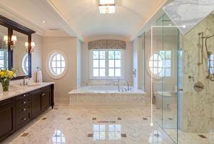 Grado della stanza da bagno mattonelle di pavimento di marmo bianche