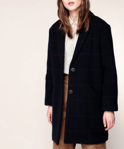簡単なラインが付いている最も新しいデザイン特大女性のオーバーコートの濃紺のオーバーコート