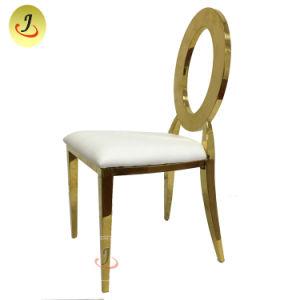 Stapeln der Bankett-Hochzeits-Edelstahl-Leder-runden Rückseite, die Stuhl speist