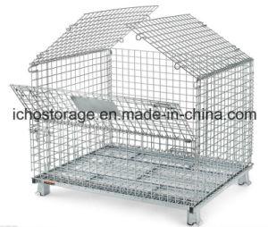 L'entrepôt d'acier empilable Wire Mesh Cage de palette
