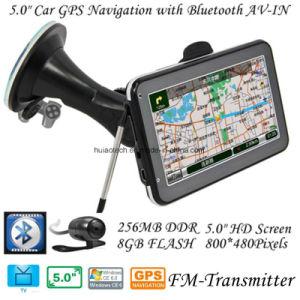 5.0 Polegada Caminhão Carro motocicleta GPS portátil com sistema de navegação com ISDB-T TV Bluetooth receptor TMC GPS Navigator, Carro Vista traseira do controlador da câmara