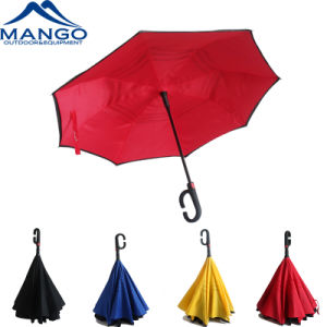 Form-Griff-doppelte Schicht-Rückseiten-Regenschirm des Automobil-geöffneter C (MP6018)