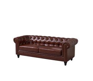 Mobiliario de casa europea Retro 3 Plazas cama Salón Ocio Tufted Chesterfield sofás de cuero
