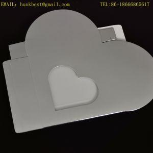 De lujo de lujo de plata de papel de aluminio de cartón en forma de corazón de la boda de embalaje Caja de regalo de chocolate con ventana transparente de PVC puede ser plegable