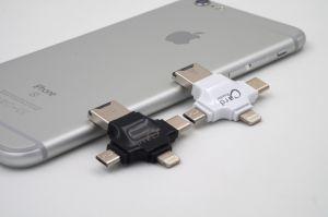 4 em 1 leitor de Smart Card para iPhone/Leitor de cartões do Tipo C para o Android OTG Suporte para leitor de cartão SD/TF (MO-RC006)