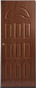 Il portello residenziale di obbligazione d'acciaio dell'entrata del metallo del ferro di disegno incurvato parte superiore di stile di Polan con sa giù il Doorsill dell'alluminio e del blocco per grafici