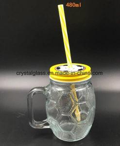 Form-Glasmaurer-Glas des Fußball-4oz mit Kappe und Stroh