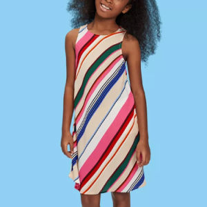 소녀의 줄무늬로 한 인쇄 소매 없는 복장