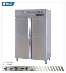 acero inoxidable Air-Cooling cuatro puertas en posición vertical refrigerador