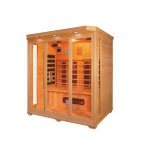 El mejor sauna de infrarrojos para uso doméstico con material de madera maciza de Cristal y cabinas de sauna (QD-C3).