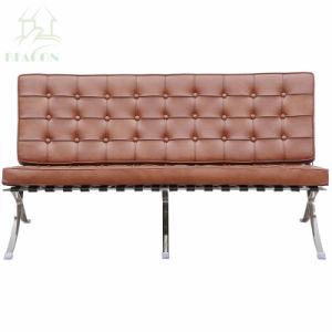 余暇のオフィス2-Seaters革バルセロナのソファー
