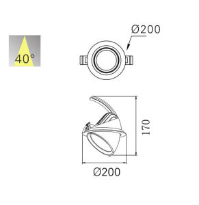 Venta caliente 40W en el interior de la nariz del Elefante Downlight LED